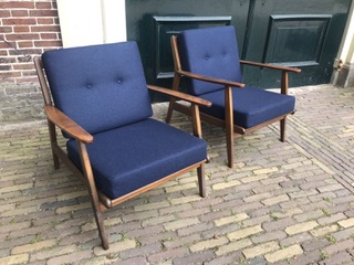 Danish Design Meubels.A Pair Of Vintage Danish Design Chairs Navy Wool Pinth Vintage